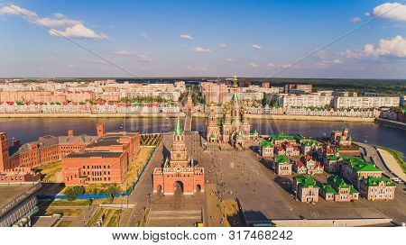 View of the Cathedral of the Annunciation of the Blessed Virgin Mary with a monument Yoshkar Ola city. Mari El, Russia. stock photo