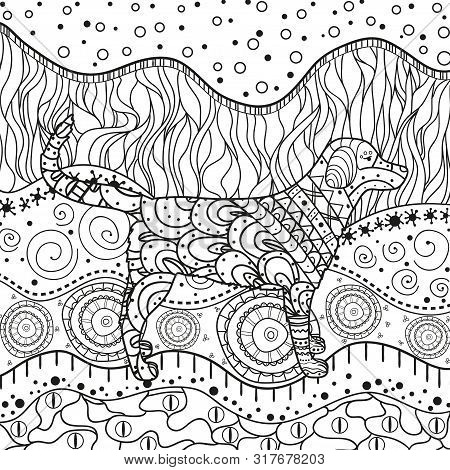 Abstract Dog On Pattern. Hand Drawn Waved Ornaments On White. Intricate Patterns On Isolated Backgro