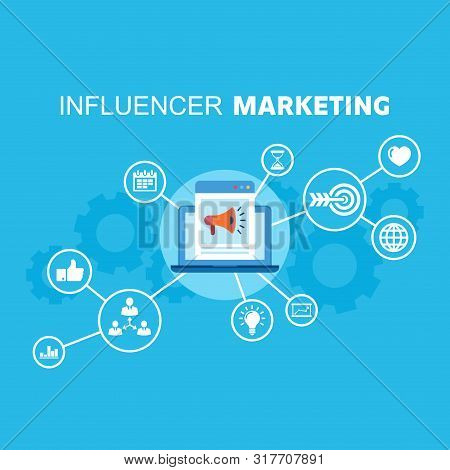Social Media Influence Marketing Reaching Potential Customers. Marketing Icons Connected With App On