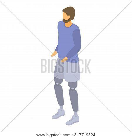 Man leg amputation icon. Isometric of man leg amputation vector icon for web design isolated on white background stock photo