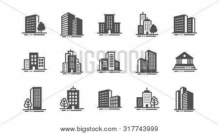 Buildings icons. Bank, Hotel, Courthouse. City, Real estate, Architecture buildings icons. Hospital, town house, museum. Urban architecture, city skyscraper. Classic set. Quality set. Vector stock photo