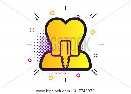 Tooth implant icon. Halftone dots pattern. Dental endosseous implant sign. Dental care symbol. Classic flat tooth implant icon. Vector stock photo