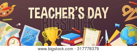Teacher Day Background. Cartoon Template For Your Design. Vector Elements
