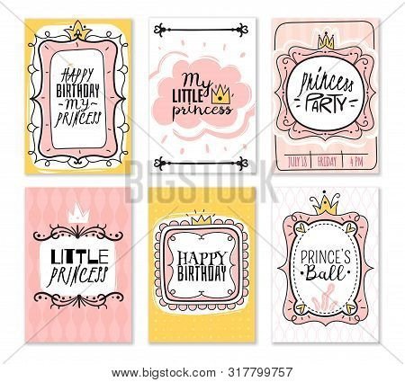 Princess Cards. Vintage Cute Pink Frame With Gold Crown, Girl Birthday Invitation Card, Baby Shower