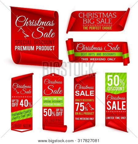 Christmas Ribbons. Xmas Holiday Red Fabric Sale Banners With Discount Offers. Realistic Vector Tag L