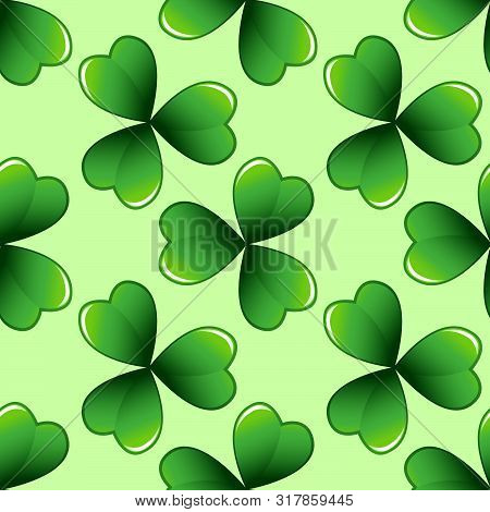 Light green clover leaves vector seamless pattern. Nature spring background. Irish traditional St. Patrick's day design element. stock photo