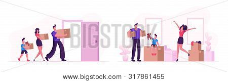 Happy Family Moving into New House. Mother, Father and Little Son Carry Boxes and Things to Home. People Buying Real Estate Apartments for Living, Relocation Process Cartoon Flat Vector Illustration stock photo