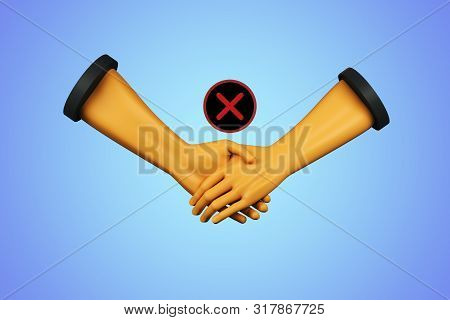 Abstract digital hands with red cross X on blue background. Teamwork and rejection concept. 3D Rendering stock photo