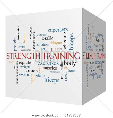 Strength Training 3D cube Word Cloud Concept with great terms such as body muscles weights and more. stock photo