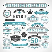 Vintage vector outline components. Retro style typographic, prospers and calligraphic objects.Labels