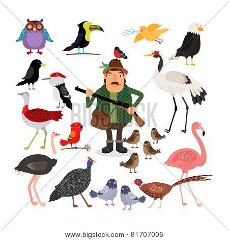 Hunter holding a shotgun. A variety of birds, flamingos, eagle, owl, sparrows and pigeons. Fowling. Vector illustration on white background stock photo
