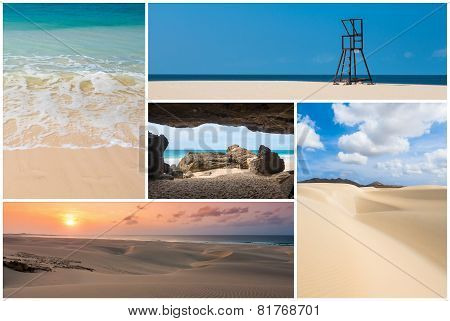Picture montage of Boavista island landscapes in Cape Verde archipel stock photo