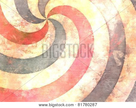 hypnotic swirl painting in vintage used style stock photo