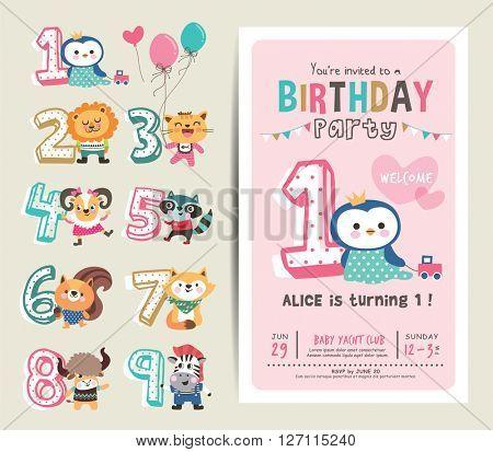 Birthday Anniversary Numbers With Cute Animals Birthday