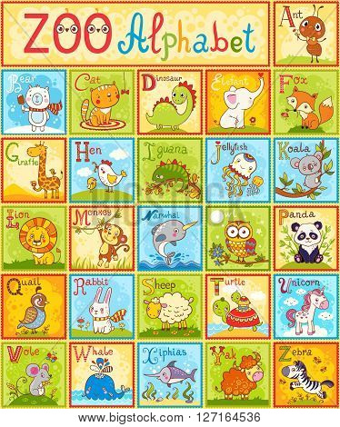 The complete children\'s english animal alphabet spelt out with different fun cartoon animals. ABC. Zoo alphabet design in a colorful style.