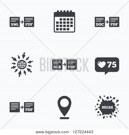 Calendar, like counter and go to web icons. Export file icons. Convert DOC to PDF, XML to PDF symbols. XLS to PDF with arrow sign. Location pointer. stock photo