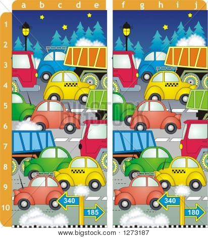 spot 10 differences picture puzzle - cars and trucks on the road winter evening or night (answer: differences are near the points b1 c2 e2 c3 a5 a6 d7 c8 a9 e10) stock photo