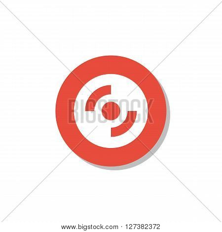Cd-Rom Icon In Vector Format. Premium Quality Cd-Rom Symbol. Web Graphic Cd-Rom Sign On Red Circle Background. stock photo