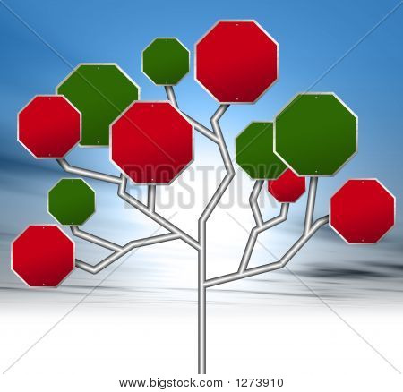 an illustration of red and green blank road signs forming a tree stock photo
