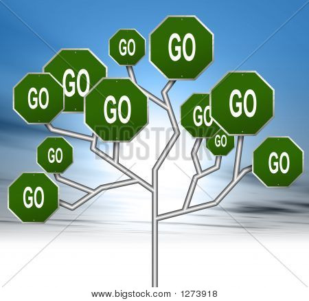 an illustration of green go road signs forming a tree stock photo