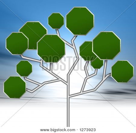 an illustration of blank green road signs forming a tree stock photo