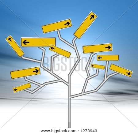 an illustration of blank yellow road signs forming a tree stock photo