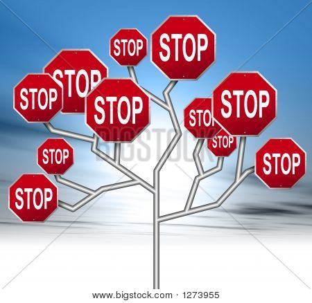 an illustration of red stop road signs forming a tree stock photo