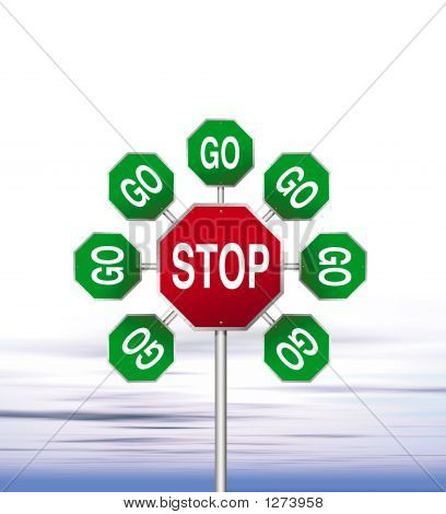 an illustration of red stop signs and green go signs forming a flower stock photo