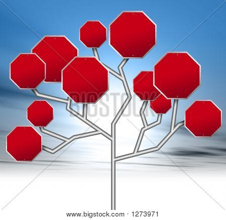 an illustration of blank red stop signs forming a tree stock photo