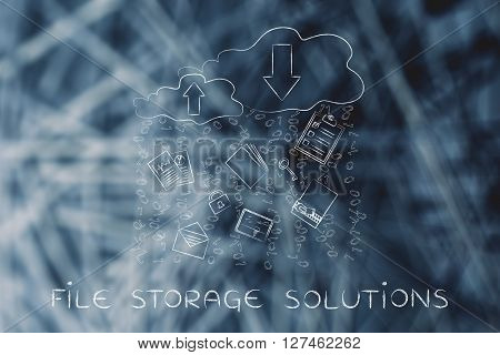 fie storage solutions: clouds with up and down transfer arrows different types of documents and binary code rain stock photo