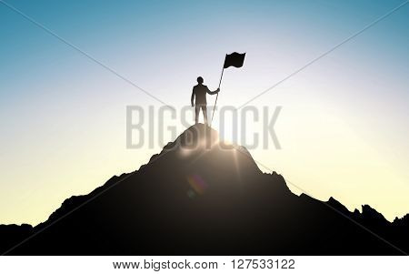 business, success, leadership, achievement and people concept - silhouette of businessman with flag