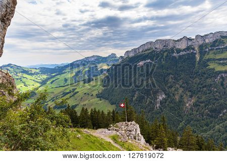 Panorama view of the Ebenalp mountain range with special layer structure Canton of Appenzell Switzerland stock photo