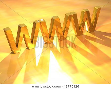 3D WWW Gold Text on yellow background stock photo