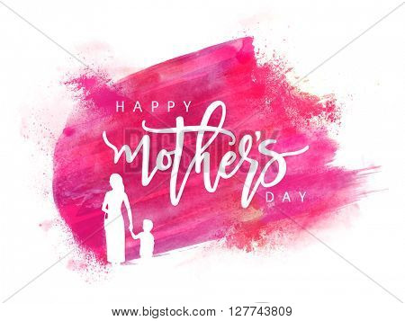 White silhouette of a Mother holding her Child hand on pink paint stroke background for Happy Mother