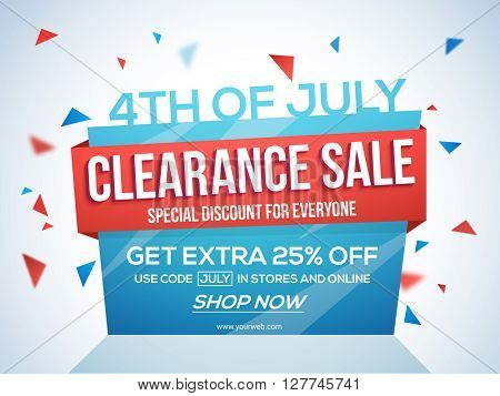 4th of July Sale Tag, Clearance Sale Paper Banner, Sale Flyer, Special Discount Offer, 25% Off. Vect