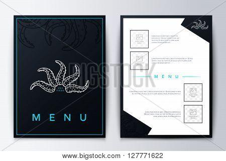 Menu design background for restaurant or coffee. Design cover menu. Brochure culinary menu. Menu design.  Restaurant menu, template design. Food flyer brochure. Sea restaurant menu design.