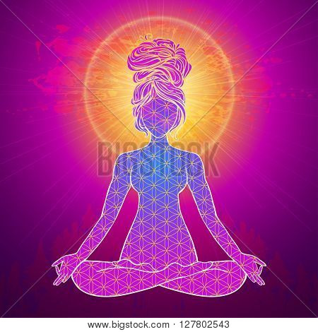 Yoga is a set of different spiritual, mental  physical practices beautiful card with Vector yoga Card for design textile textures logos  Yoga is Raja Yoga Karma Yoga Jnana Yoga Bhakti Yoga Hatha Yoga stock photo