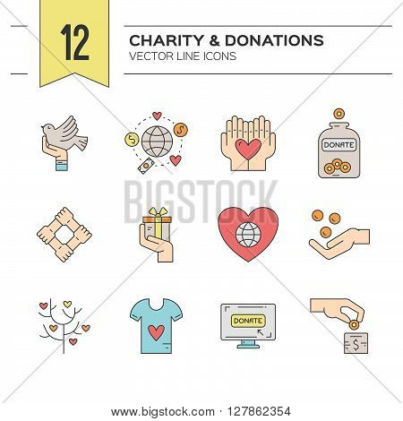 Charity and donation icons made in modern line style. Helping hand vector illustration. Vector symbols of fundraising charity work label for non-profit volunteer organization. stock photo