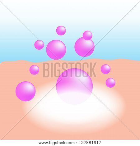 Pink collagen or essential vitamin absorb on the human skin with white glow light absorption infographic vector stock photo