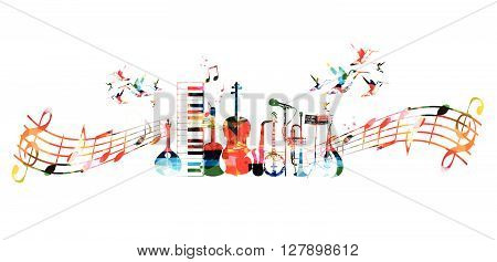 Vector illustration of colorful music instruments with music notes stock photo