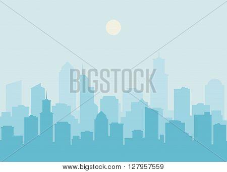 City skyline vector illustration. Urban landscape. Blue city silhouette. Cityscape in flat style. Modern city landscape. Cityscape backgrounds. Daytime city skyline.