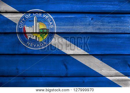 Flag of Las Vegas Nevada painted on old wood plank background stock photo