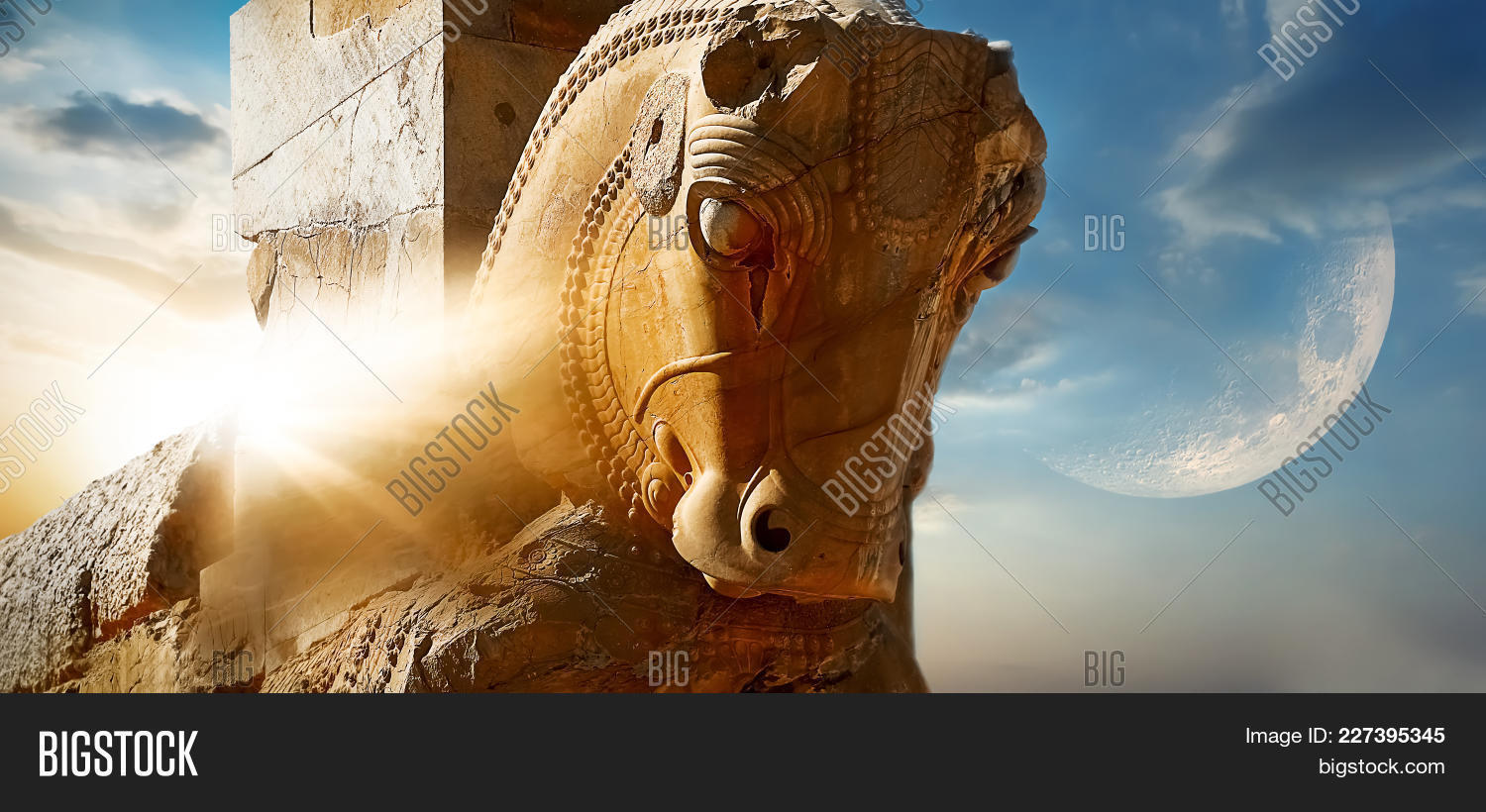 Fragment Of The Statue Of A Horse In Ancient Persepolis Against The Background Of The Sun And The Mo 227395345 Image Stock Photo