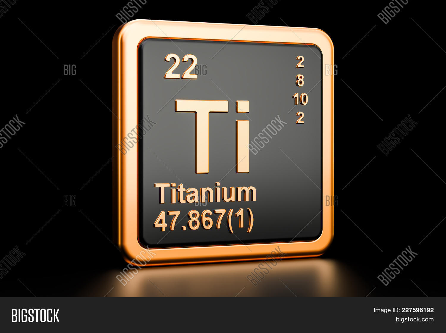 Titanium Ti Chemical Element 3d Rendering Isolated On Black