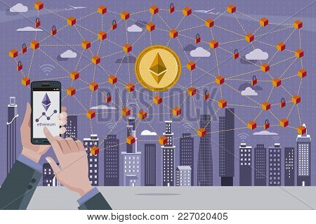 Modern City, Ethereum currency symbol, Blockchain transaction network with ethereum currency. In the foreground hands with a mobile phone with the Ethereum quote. stock photo