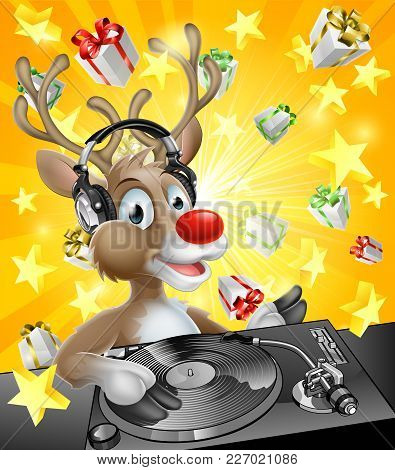 A cartoon Christmas Reindeer DJ with headphones on at the record decks with Christmas gift presents in the background stock photo