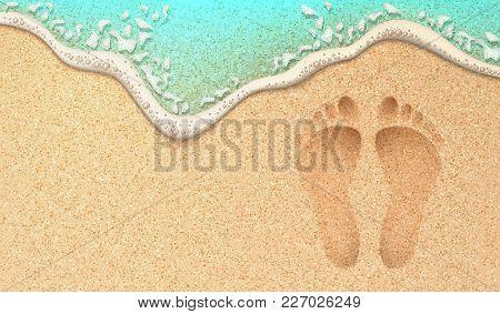 Beach Sand Footprint Ocean Coast Sea Azure Wave With Bubble. Vector Realistic Illustration. Tropical