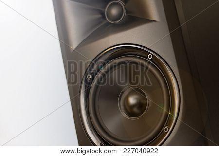 Elegant powerfull studio monitor - Black speaker closeup stock photo