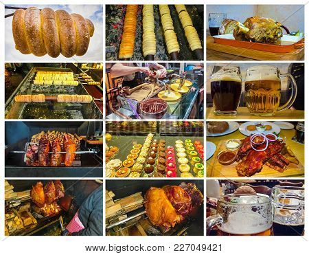 The collage about traditional Czech street food - trdelnik, pork ribs, beer, veprevo knee stock photo