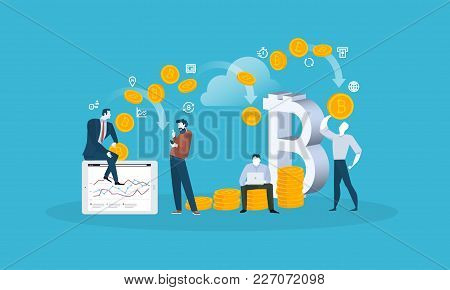 Blockchain. Flat design style web banner of blockchain technology, bitcoin, altcoins, cryptocurrency mining, finance, digital money market, cryptocoin wallet, crypto exchange. stock photo